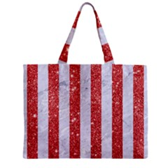 Stripes1 White Marble & Red Glitterstripes1 White Marble & Red Glitter Zipper Mini Tote Bag by trendistuff