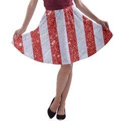 Stripes1 White Marble & Red Glitterstripes1 White Marble & Red Glitter A Line Skater Skirt