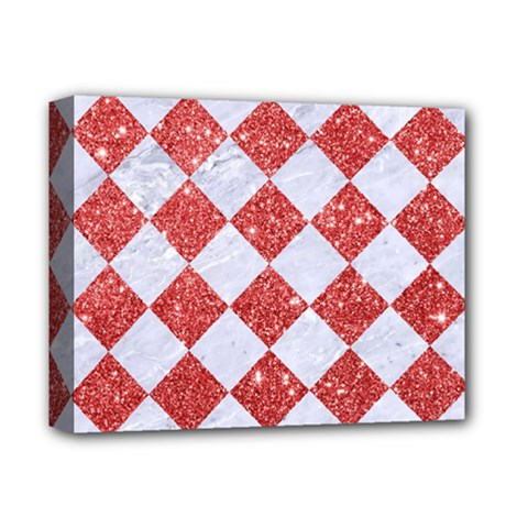 Square2 White Marble & Red Glitter Deluxe Canvas 14  X 11  by trendistuff