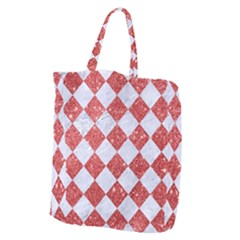 Square2 White Marble & Red Glitter Giant Grocery Zipper Tote by trendistuff