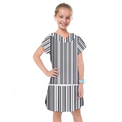 Barcode Pattern Kids  Drop Waist Dress