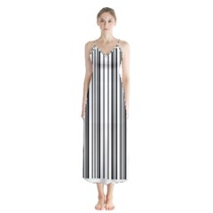 Barcode Pattern Button Up Chiffon Maxi Dress