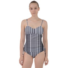 Barcode Pattern Sweetheart Tankini Set by Sapixe