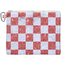 Square1 White Marble & Red Glitter Canvas Cosmetic Bag (xxxl)
