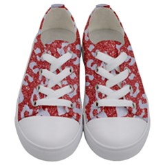 Skin5 White Marble & Red Glitter (r) Kids  Low Top Canvas Sneakers