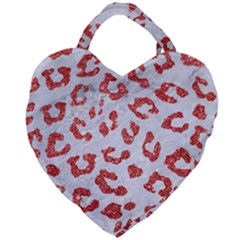 Skin5 White Marble & Red Glitter Giant Heart Shaped Tote