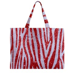 Skin4 White Marble & Red Glitter (r) Zipper Mini Tote Bag by trendistuff