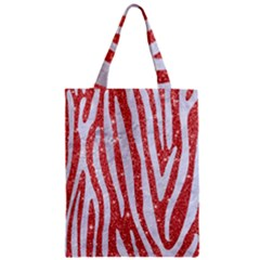 Skin4 White Marble & Red Glitter (r) Zipper Classic Tote Bag by trendistuff