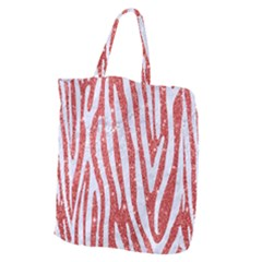 Skin4 White Marble & Red Glitter (r) Giant Grocery Zipper Tote by trendistuff