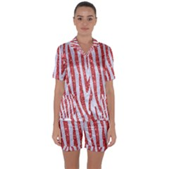 Skin4 White Marble & Red Glitter Satin Short Sleeve Pyjamas Set by trendistuff
