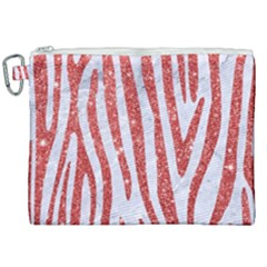 Skin4 White Marble & Red Glitter Canvas Cosmetic Bag (xxl) by trendistuff