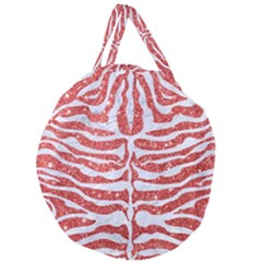 Skin2 White Marble & Red Glitter Giant Round Zipper Tote