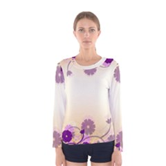 Background Floral Background Women s Long Sleeve Tee