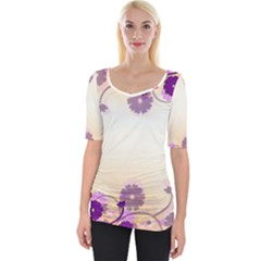 Background Floral Background Wide Neckline Tee by Sapixe