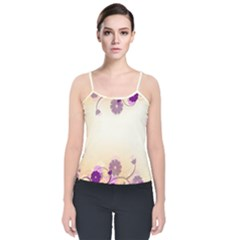 Background Floral Background Velvet Spaghetti Strap Top by Sapixe