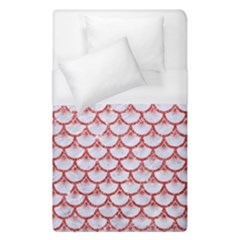 Scales3 White Marble & Red Glitter (r) Duvet Cover (single Size) by trendistuff
