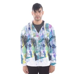 Background Color Circle Pattern Hooded Wind Breaker (men)