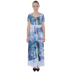 Background Color Circle Pattern High Waist Short Sleeve Maxi Dress by Sapixe