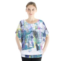 Background Color Circle Pattern Blouse by Sapixe