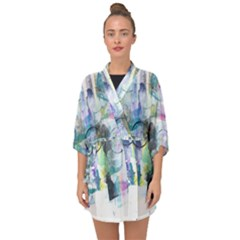 Background Color Circle Pattern Half Sleeve Chiffon Kimono by Sapixe