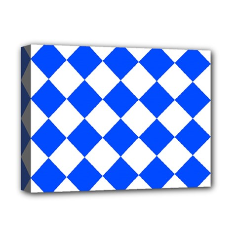 Blue White Diamonds Seamless Deluxe Canvas 16  X 12   by Sapixe