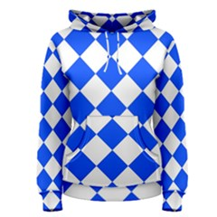 Blue White Diamonds Seamless Women s Pullover Hoodie by Sapixe