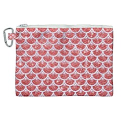 Scales3 White Marble & Red Glitter Canvas Cosmetic Bag (xl) by trendistuff
