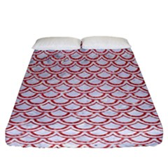 Scales2 White Marble & Red Glitter (r) Fitted Sheet (california King Size) by trendistuff
