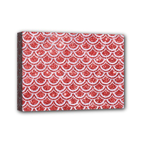 Scales2 White Marble & Red Glitter Mini Canvas 7  X 5  by trendistuff