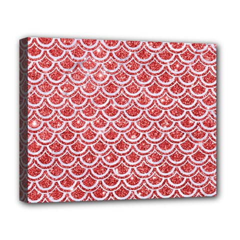 Scales2 White Marble & Red Glitter Deluxe Canvas 20  X 16   by trendistuff