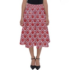 Scales2 White Marble & Red Glitter Perfect Length Midi Skirt