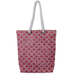 Scales2 White Marble & Red Glitter Full Print Rope Handle Tote (small) by trendistuff