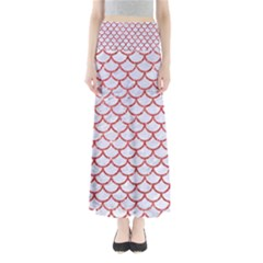 Scales1 White Marble & Red Glitter (r) Full Length Maxi Skirt by trendistuff