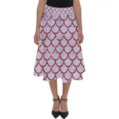 Scales1 White Marble & Red Glitter (r) Perfect Length Midi Skirt by trendistuff