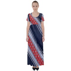 Bed Linen Microfibre Pattern High Waist Short Sleeve Maxi Dress