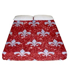Royal1 White Marble & Red Glitter (r) Fitted Sheet (king Size) by trendistuff