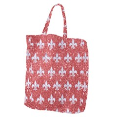Royal1 White Marble & Red Glitter (r) Giant Grocery Zipper Tote by trendistuff