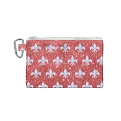 Royal1 White Marble & Red Glitter (r) Canvas Cosmetic Bag (small) by trendistuff