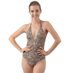 Camouflage Tarn Texture Pattern Halter Cut Out One Piece Swimsuit