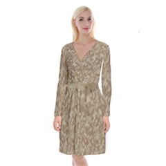Camouflage Tarn Texture Pattern Long Sleeve Velvet Front Wrap Dress by Sapixe