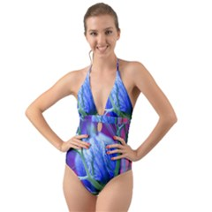 Blue Flowers With Thorns Halter Cut Out One Piece Swimsuit