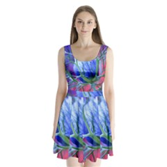 Blue Flowers With Thorns Split Back Mini Dress