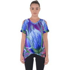 Blue Flowers With Thorns Cut Out Side Drop Tee by Sapixe