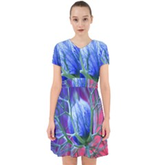 Blue Flowers With Thorns Adorable In Chiffon Dress