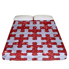 Puzzle1 White Marble & Red Glitter Fitted Sheet (queen Size) by trendistuff