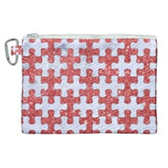 Puzzle1 White Marble & Red Glitter Canvas Cosmetic Bag (xl)