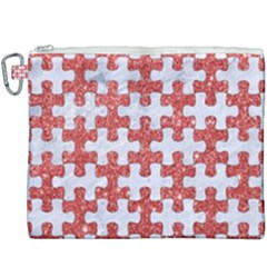 Puzzle1 White Marble & Red Glitter Canvas Cosmetic Bag (xxxl) by trendistuff