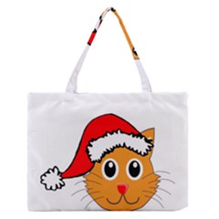 Cat Christmas Cartoon Clip Art Zipper Medium Tote Bag by Sapixe
