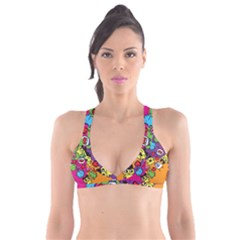 Cartoon Pattern Plunge Bikini Top by Sapixe