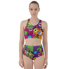 Cartoon Pattern Racer Back Bikini Set